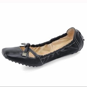 Tod's Bow Front Driver Degas Leather Ballet Flats
